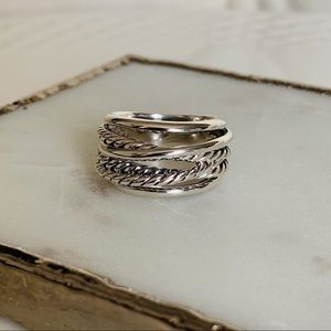 David Yurman Crossover Narrow Ring 15mm 7 Silver